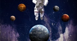 Astronaut in outer space modern art